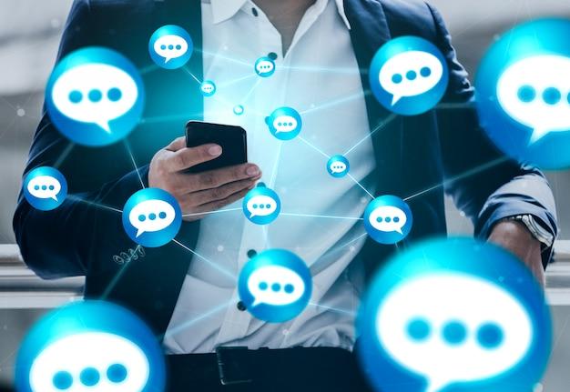 Concept de technologie de réseau social et de personnes