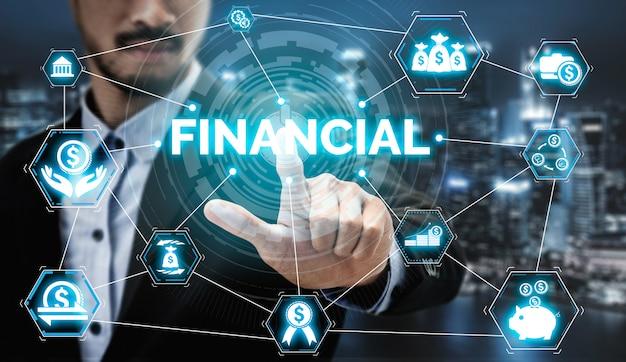 Concept de technologie de transaction financière et financière