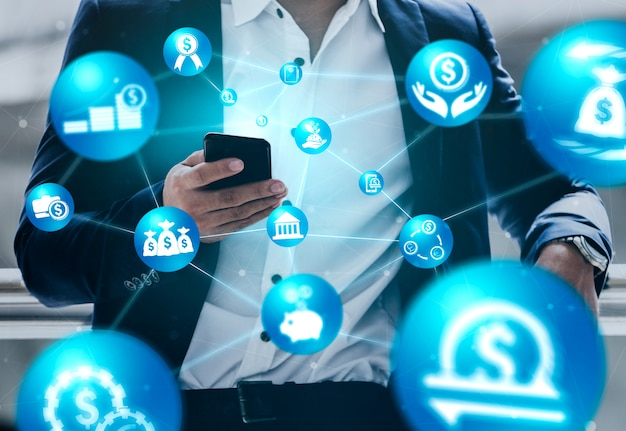 Concept de technologie de transaction financière et monétaire
