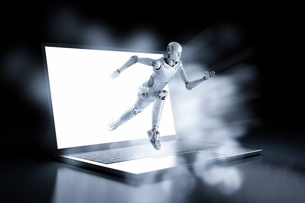 Concept de technologie à vitesse rapide avec robot à court d'ordinateur portable