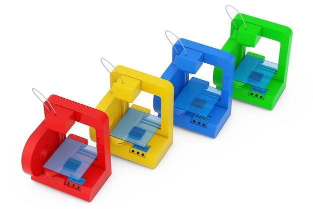 Concept technologique. imprimantes 3d maison multicolores modernes sur fond blanc. rendu 3d