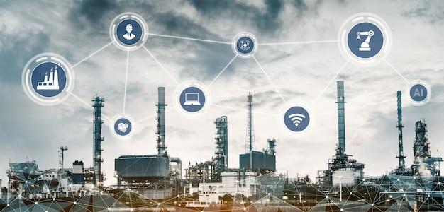 Concept technologique de l'industrie 4.0. usine intelligente pour la quatrième révolution industrielle