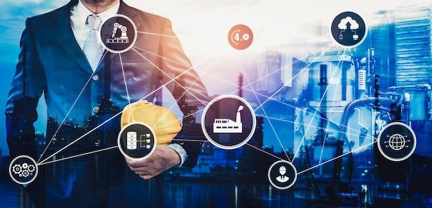 Concept technologique industrie 4.0 - usine intelligente pour la quatrième révolution industrielle
