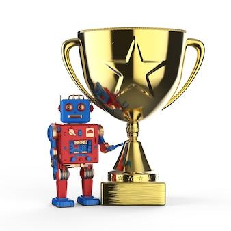 Concept technologique de leadership avec robot de rendu 3d tenant le trophée d'or