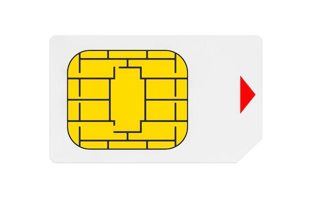 Concept de télécommunications mobiles. vue macro de la carte sim sur fond blanc