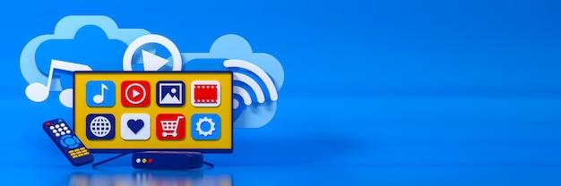 Concept de téléviseur iptv smart tv, télécommande. illustration 3d