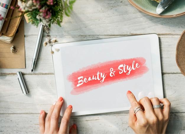 Concept de texte de mode de style de beauté