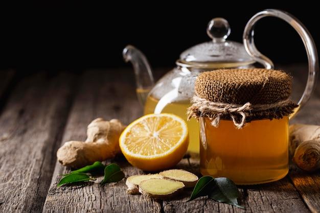 Concept de thé au citron délicieux et sain