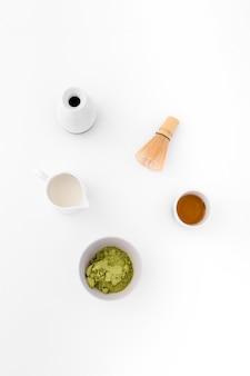 Concept de thé matcha délicieux vue de dessus