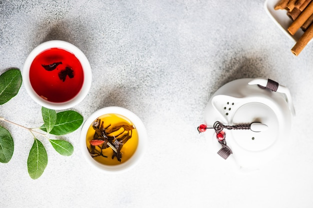Concept de thé sur pierre