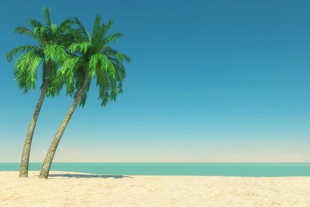 Concept de tourisme et de voyage. plage de paradis tropical vide avec sable blanc et cocotiers sur fond de ciel bleu. rendu 3d