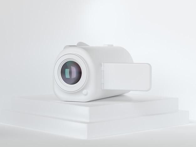 Concept De Tournage De Technologie De Caméra Vidéo Blanc Rendu 3d Photo Premium