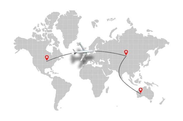 Concept de trajectoire de vol avion sur la carte du monde avec des points.