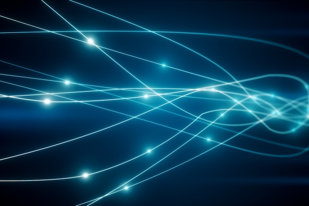 Le concept de transmission du signal sur une fibre optique 3d illustration