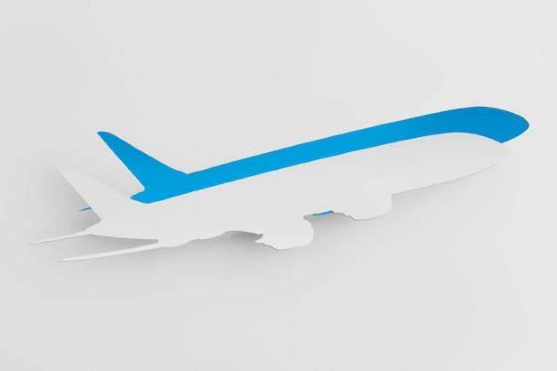 Concept de transport. avion découpé dans du papier comme autocollant