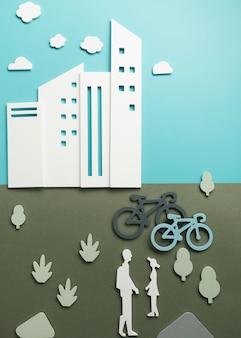 Concept de transport avec des personnes et des vélos