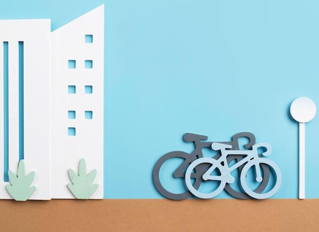 Concept de transport avec des vélos