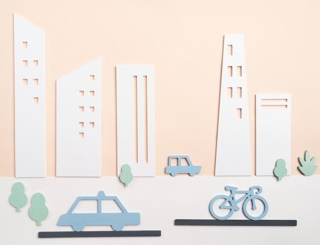Concept de transport avec voiture et vélo
