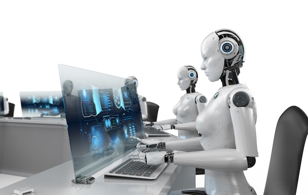 Concept de travailleur d'automatisation avec groupe de rendu 3d de cyborgs féminins travaillant au bureau
