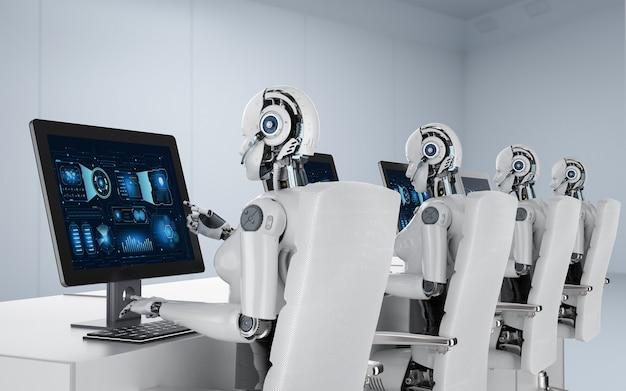 Concept de travailleur d'automatisation avec un groupe de rendu 3d de cyborgs ou de robots féminins travaillant sur un ordinateur de bureau