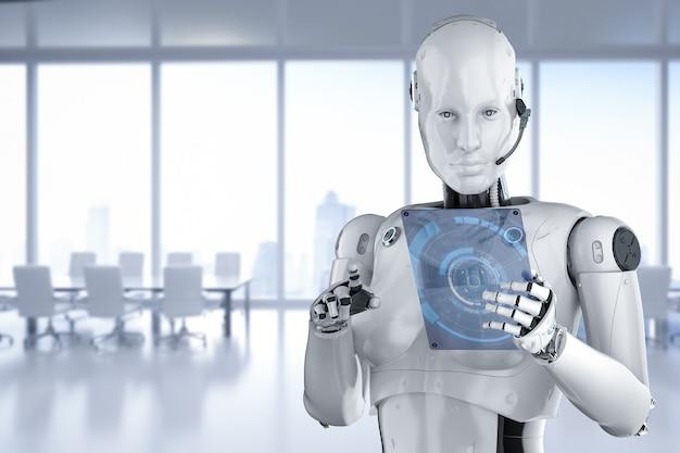 Concept de travailleur d'automatisation avec rendu 3d cyborg féminin ou robot avec tablette en verre