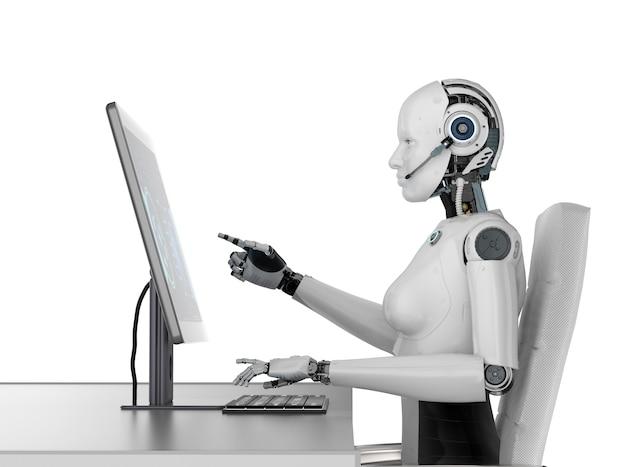 Concept de travailleur d'automatisation avec rendu 3d cyborg féminin ou robot travaillant sur ordinateur de bureau