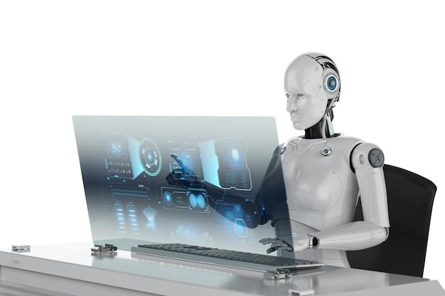 Concept de travailleur d'automatisation avec rendu 3d cyborg féminin travaillant au bureau