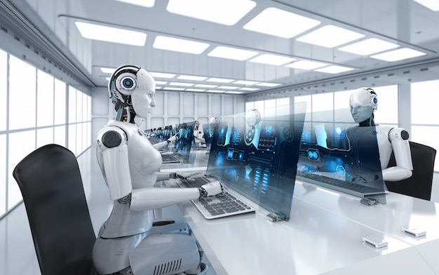 Concept de travailleur d'automatisation avec rendu 3d des cyborgs féminins travaillant au bureau