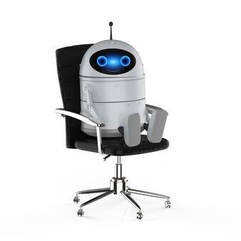 Concept de travailleur d'automatisation avec un robot android de rendu 3d ou un robot d'intelligence artificielle au bureau