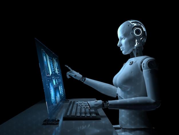 Concept de travailleur d'automatisation avec robot de rendu 3d travaillant au bureau