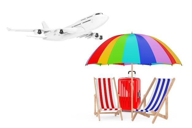Concept de vacances. avion volant aux chaises de plage avec parapluie et valise sur fond blanc. rendu 3d.