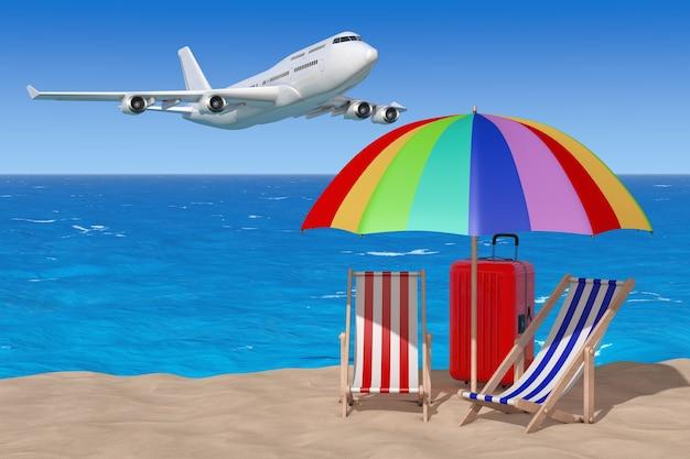 Concept de vacances. avion volant vers des chaises de plage avec parasol et valise sur la plage ensoleillée de sable sur fond d'océan et de ciel bleu. rendu 3d.