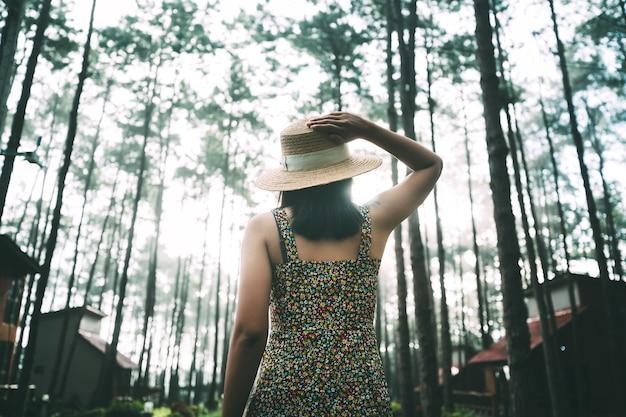 Concept de vacances de détente de voyage d'hiver, jeune femme asiatique de voyageur heureux visitant dans le jardin de pin au parc forestier de doi bo luang, chiang mai, thaïlande