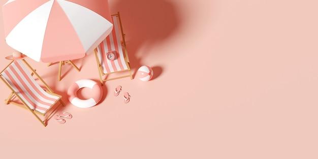 Concept de vacances d'été, vue de dessus du parasol, des chaises et des accessoires, fond d'illustration 3d minimal