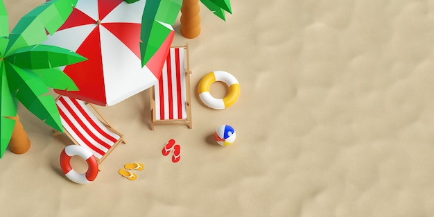 Concept de vacances d'été, vue de dessus d'une plage d'été avec parasol, chaises et accessoires, fond d'illustration 3d