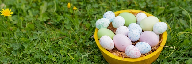 Concept de vacances de pâques. décor de pâques avec des oeufs peints brillants dans l'herbe. bannière web. modèle pour la conception.