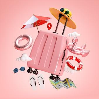 Concept de vacances de voyage. valise rose et accessoires de plage rendu 3d