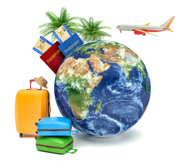 Le concept de vacances et de voyages. globe terrestre avec billets d'avion, bagages et avion