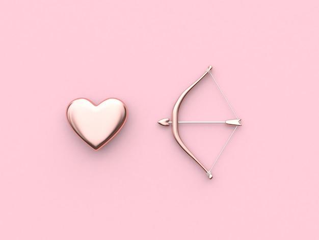 Concept de valentine 3d rendu arc et flèche coeur fond rose