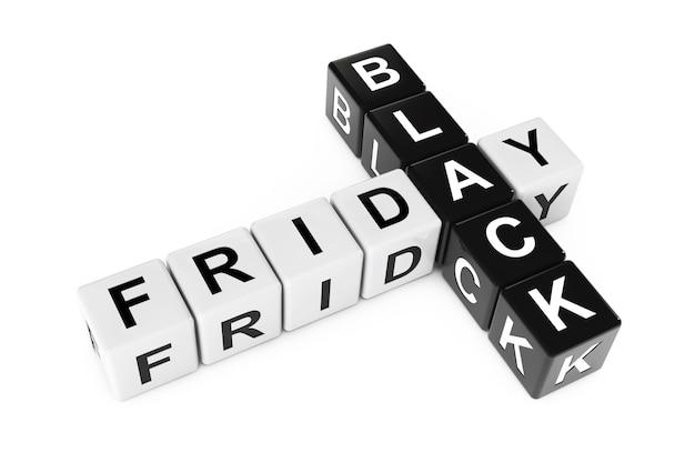 Concept de vendredi noir. inscrivez-vous en tant que blocs de mots croisés sur un fond blanc. rendu 3d.