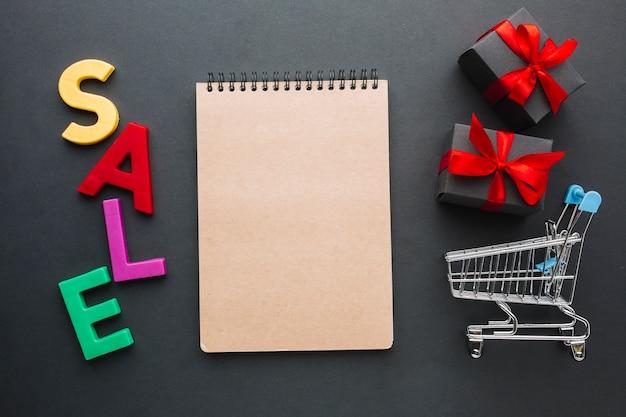 Concept de vente avec cahier de maquette