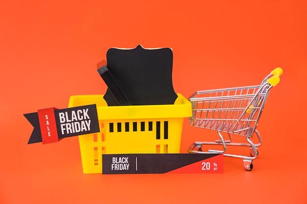 Concept de vente vendredi noir avec panier
