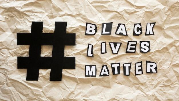 Le concept de la vie noire compte avec hashtag
