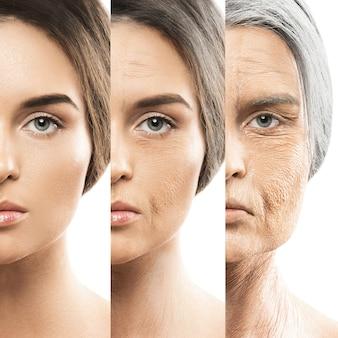 Concept de vieillissement. comparaison jeunes et vieux.