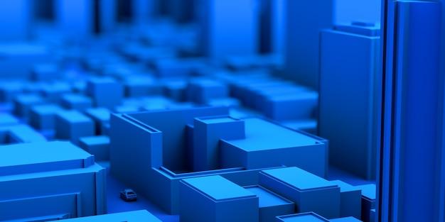 Concept de ville avec voiture dans la rue en bleu modèle abstrait bannière future illustration 3d