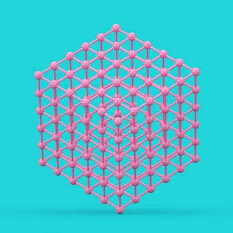 Concept de visualisation de données numériques. cube de maille d'atome filaire rose abstrait dans un style bicolore sur fond bleu. rendu 3d