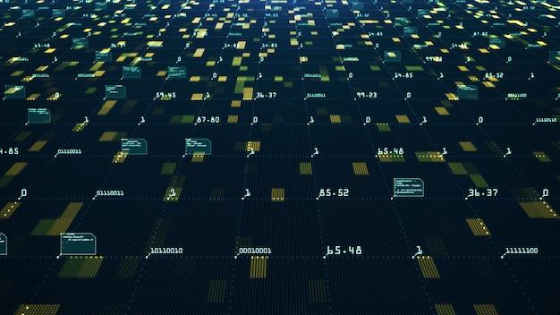 Concept de visualisation de données volumineuses. algorithmes d'apprentissage machine. analyse de l'information. données de technologie et réseau de code binaire transportant la connectivité.