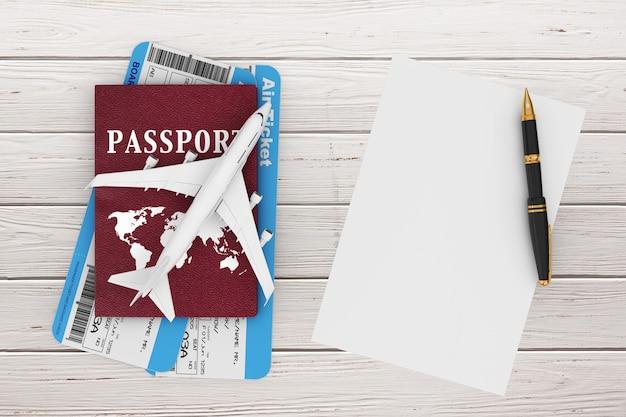 Concept de voyage aérien. avion de passagers à réaction, passeport, billets, papier vierge et stylo sur une table en bois. rendu 3d.