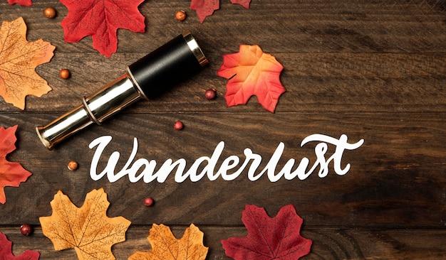 Concept de voyage automne vue de dessus avec des feuilles
