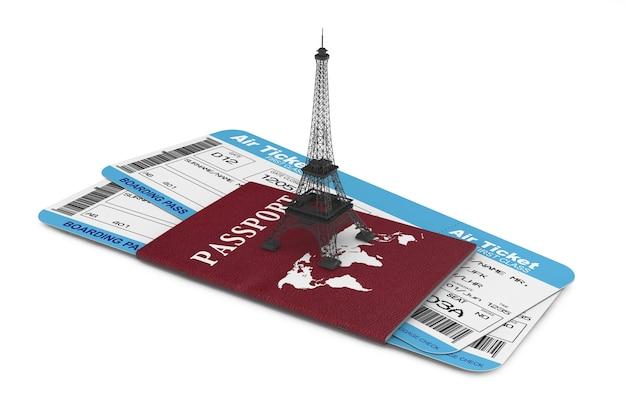 Concept de voyage. billets de carte d'embarquement de la compagnie aérienne avec tour eiffel et passeport sur fond blanc